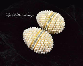 Heidi Daus Earrings Vintage Golden Egg Pearl Rhinestone Clip Ons ~Jim Walters Retired Design