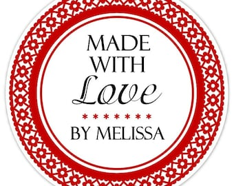 Made With Love Custom Labels, Red Border Floral Stickers - 2.5 inch round - Personalized for YOU