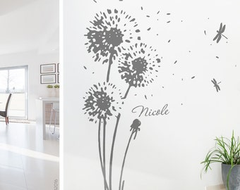 Wall flower and your name - dandelion wall sticker wall sticker wall decoration dandelion floral wall decal decor vinyl name w707