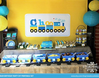 TRAIN Birthday Party Printable Set - Train Invitations, Cupcake Toppers, Party Banner, Backdrop & more