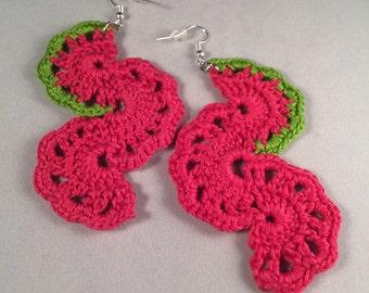 Seahorses (Color: Lime & Magenta), Crochet Earrings