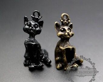 6pcs 13x25mm antiqued bronze,black cat pendant charm supplies 1810483