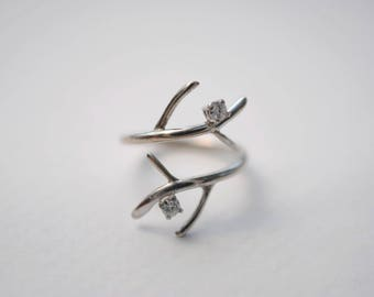 Two Moissanite Double Outward Branch Engagement Ring in White Gold