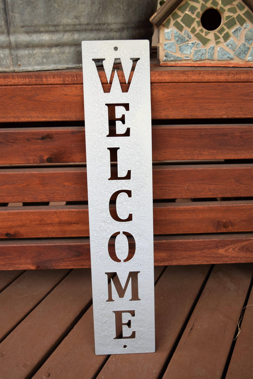 Vertical Metal Welcome Sign | Metal Wall Art | Monogram ...