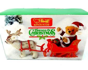 STEIFF Friends of Christmas Santa Bear,Sleigh, Reindeer, Limited Edition of 6000