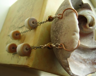 Galilea Mother of Pearl Earring Contemporary Dangle Earring with Oxidized Sterling Silver Copper Earring Shell Earring