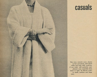 KNITTING PATTERN Vintage 50s Long Shawl Collar Sweater Coat Instant Download PDF