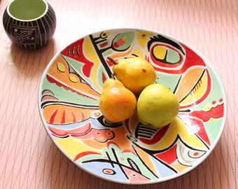 Large Hand Painted Ceramic Platter / Bowl