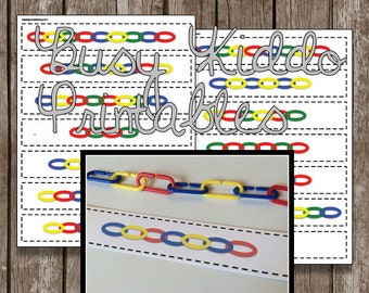50% OFF SALE - Linking Chains - PDF - Instant Download - Printable - Busy Bag - Math Center - Games
