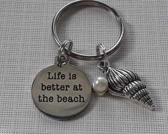 Life is better at the beach keychain,  beach gift, mermaid gift, beach lover gift, shell gift, palm tree gift, beach fan gift, Florida gift