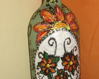 Hand painted bottle #