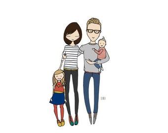 Custom Portrait, Family portrait, gifts ideas, couple portrait, wall art, custom illustration