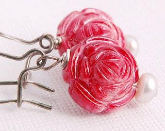Red Rose Earrings,  Vintage inspired Flower earrings, Oxidized Sterling Flower Jewelry Gifts for Sister Girl Her Under 20