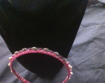 Beaded pink headband