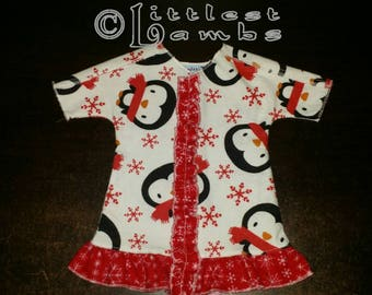 Micro Preemie Clothes, Preemie Christmas Pajamas, NICU Approved Gown, Preemie Girl clothing,  Penguin Pals, Flannel Pyjamas, X-mas PJ's