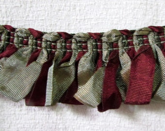 Amazing ribbon Fringe trim in bronzy green and burgundy