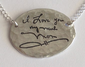 X-Large Size Oval With Chains - Memorial Jewelry Your Actual Loved Ones Writing Silver Necklace - Made to order