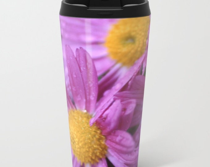 Flower Travel Mug Metal - Purple Coffee Travel Mug -  Hot or Cold Travel Mug - 20oz Mug - Stainless Steel - Made to Order