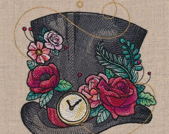 MAD HATTER HAT Bloom Enhanced & Timepiece Adorned Ecclectic Machine Embroidered Quilt Block, Art Panel
