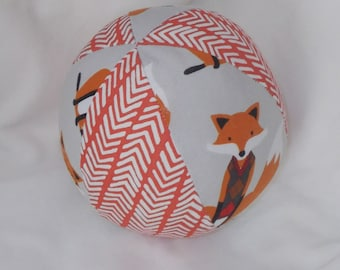 Gray Fox Fabric Boutique Ball Rattle Toy