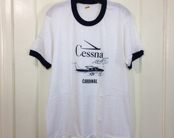 deadstock 1980s Cessna Cardinal small airplane t-shirt size large 20x26.5 pilot aircraft thin white blue ringer Screen Stars made in USA NOS