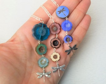 Graduated Glass Flowers and Dragonflies Pendant on Sterling Chain - Choice of Color