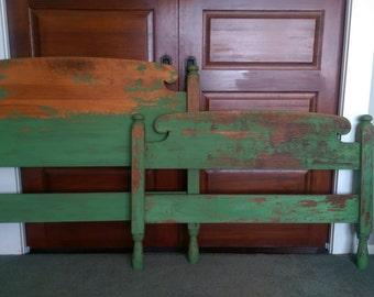 REDUCED!/Vintage Distressed Twin Bed/Rustic Twin Bed/Milk Painted Chippy Painted Bed