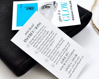 Rodan and Fields Mini Facial Cards, R+F Give It A Glow, Facial Instructions, Skincare Cards, Digital Files, Personalized