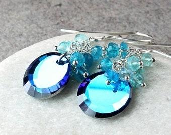 SALE Blue Cluster Earrings  Sterling Silver Apatite Swarovski Crystal Earrings  Gemstone Jewelry  Gem Stone Birthday Gift