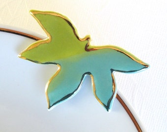 SALE! Maple Leaf Brooch. Turquoise Blue. Greenery. Lime Green. 22K Gold Edge. Clay. Ceramic. Aqua. Blue-Green. Yellow-Green. Olive. Woodland