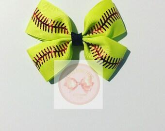 Softball Hair Bows/ Softball Bows/ Sports Bows