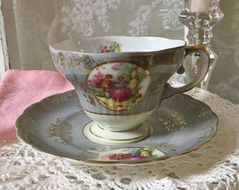 Tea Cup & Saucer China Royal Sealy, Japan Courting Couple Cameos Footed Romantic Gift