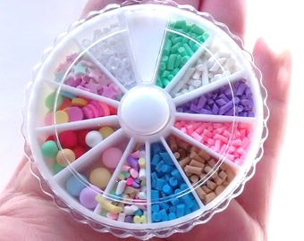 Mini polymer sprinkles cabochon wheel, resin filler, whip toppings, decoden, quality cabs, confetti, balls, whipped cream toppings,