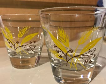 Vintage Autum Home Laughlin Shot Glass with Wheat