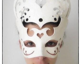 Carmen. Handmade paper maché Mask in white. Venice Carnival