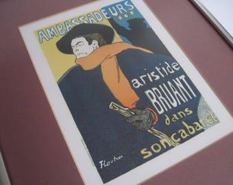 Vintage Framed Toulouse Lautrec Ambassadeurs Aristide Bruant Print
