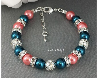 Teal and Coral Jewelry Coral Bracelet Bridesmaid Jewelry Maid of Honor Gift for Her Teal Jewelry Wedding Gift Idea