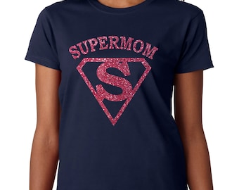 Super mom bling glitter t shirt, Mothers day gift, Super mom shirt, Gift for mom