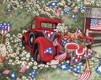 Patriotic Picnic by Susan Winget/Quilting Sewing Fabric/American Flag/Pickup Truck/Dog Shed Flowers Watermelon Apples/HALF YARD Pricing