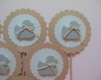 Duck Cupcake Toppers - Blue and Taupe - Boy Baby Shower Decorations - Gender Reveal - Boy Birthday Decorations - Set of 6