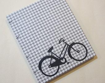 Bicycle Handmade Notebook Journal: Grey and White Houndstooth Bike Hardbound Coptic Small Book