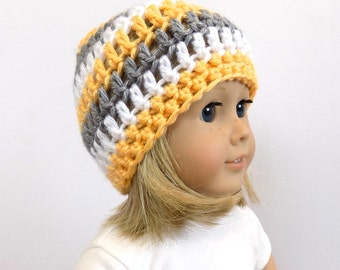 Yellow and Gray Striped Doll Hat, Doll Clothes, 18 Inch Doll Beanie