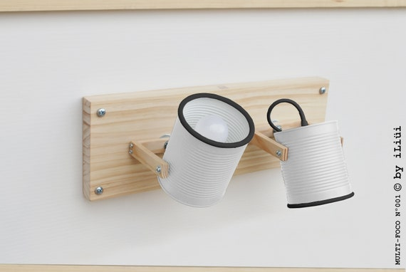 Wall or ceiling lamp /  sconce / fixture light directable, white & black .....eco friendly and handmade: recycled from tomato can !