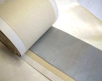 """Vintage Early 1900's Silk Taffeta Ribbon 3"""" Wide Spool Slate Grey The Wanamaker Store"""