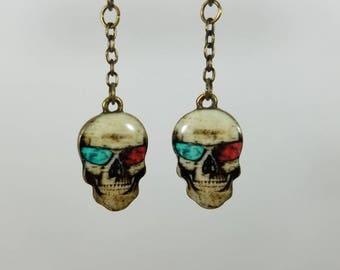 Skull with 3D glasses dangle earrings