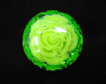 Small Apple green flower cabochon ring