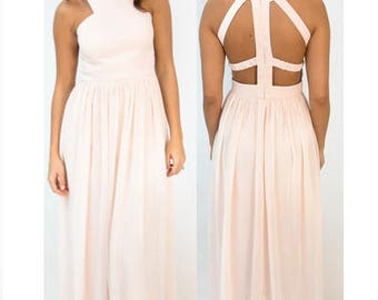 Caged Back Bridesmaid Dress-- in stock and ready to ship