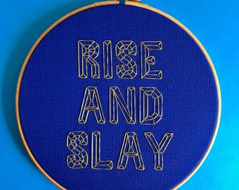 rise and slay, home office decor, cross stitch kit, embroidery kit, craft gift, fun diy gift, metallic thread, modern embroidery