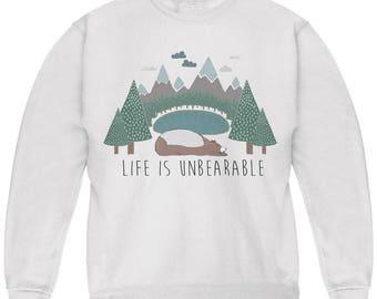Autumn Life is Unbearable Bear Pun Youth Sweatshirt
