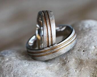 Gold Wedding band/Two tone Wedding band/Diamond GOLD ring/Yellow Gold ring/Personalised ring/Engagement rings/Woman Wedding band/Man's ring